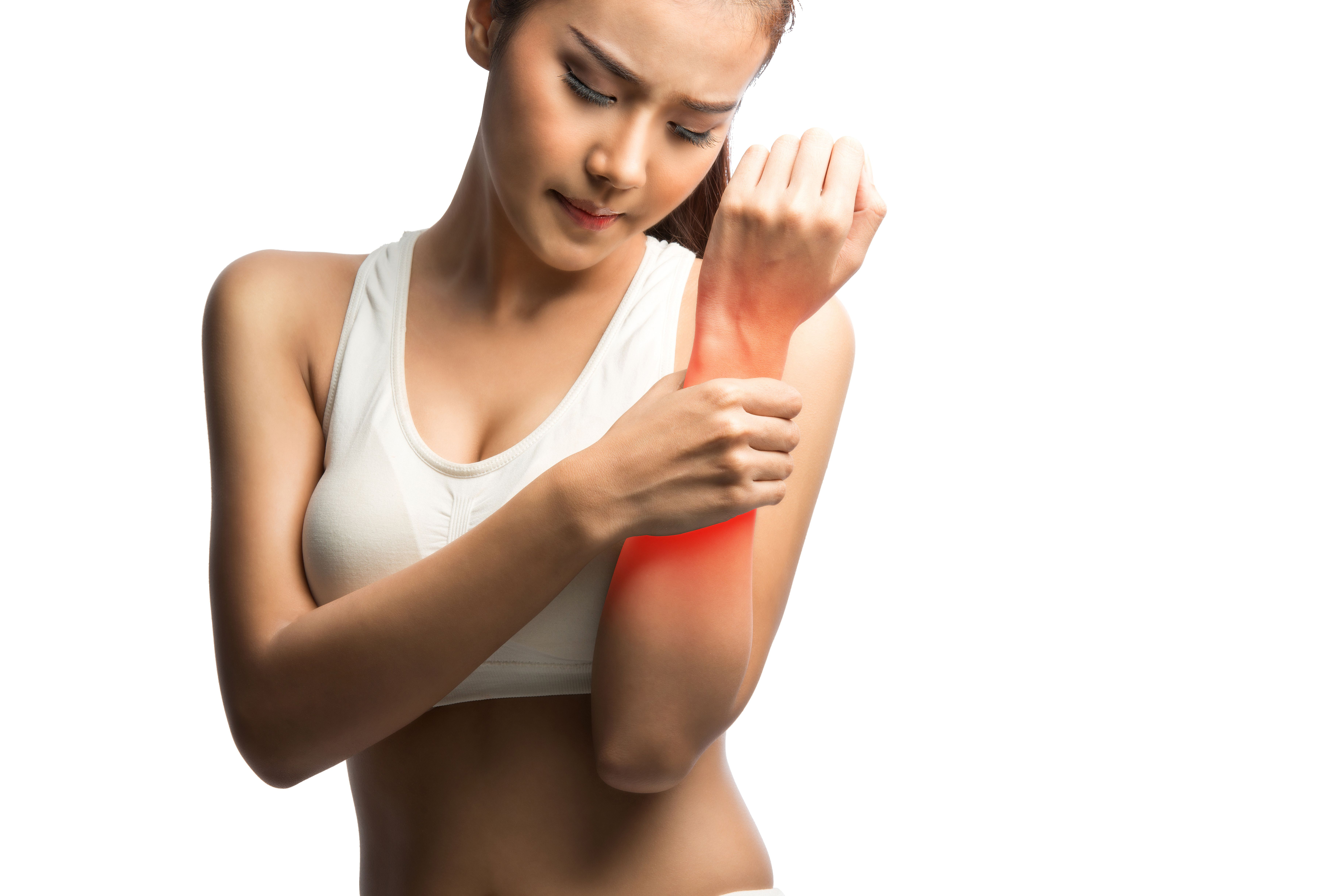 Young woman with hand pain,on whitewith clipping path